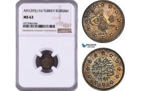 AE984, Ottoman Empire, Turkey, Abdülhamid II, 1 Kurush AH1293/16, Silver, NGC MS63