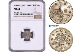 AE985, Ottoman Empire, Turkey, Abdülhamid II, 1 Kurush AH1293/29, Silver, NGC MS64, Pop 2/1
