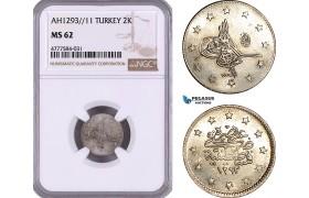 AE986, Ottoman Empire, Turkey, Abdülhamid II, 2 Kurush AH1293/11, Silver, NGC MS62