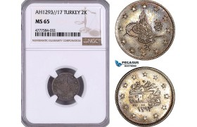 AE987, Ottoman Empire, Turkey, Abdülhamid II, 2 Kurush AH1293/17, Silver, NGC MS65, Top Pop