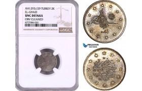 AE988, Ottoman Empire, Turkey, Abdülhamid II, 2 Kurush AH1293/29, Silver, NGC UNC Det.
