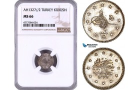 AE989, Ottoman Empire, Turkey, Mehmet Reshad V, 1 Kurush AH1327/2, Silver, NGC MS66, Pop 1/0