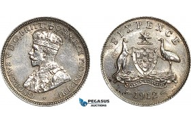 AE994, Australia, George V, Sixpence 1912, Silver, Cleaned UNC