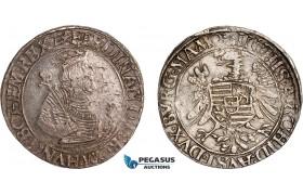 AE997, Austria, Ferdinand I, Taler ND (1521-64) Vienna, Silver (28.30g) Dav. 8010, Toned AU, Double struck!
