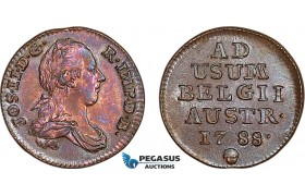 AE998, Austrian Netherlands, 1 Liard 1788, Brussels, Obv. cleaned, XF-UNC