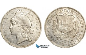 AF003, Dominican Republic, 5 Francos 1891-A, Paris, Silver, Cleaned XF