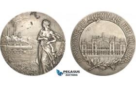 AF010, France, Silver Art Nouveau Medal (c. 1900) (Ø50mm, 63g) by Lebarque, North Railroad, Train
