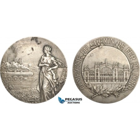AF010, France, Silver Art Nouveau Medal (c. 1900) (Ø50mm, 63g) by Lebarque, North Railroad, Train