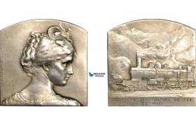 AF012, France, Silver Art Nouveau Plaque Medal (42x42mm, 32.8g) by Deschamps, Train, Railroad