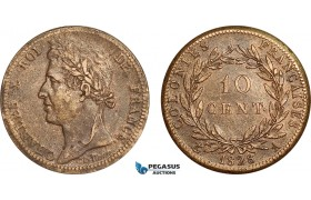 AF013, French Colonies, Charles X, 10 Centimes 1828-A, Paris, Cleaned XF