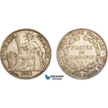 AF015, French Indo-China, Piastre 1903-A, Paris, Silver, XF