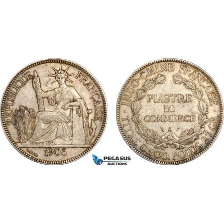 AF016, French Indo-China, Piastre 1905-A, Paris, Silver, XF-AU