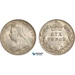 AF026, Great Britain, Victoria, Sixpence 1899, London, Silver, AU-UNC
