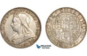 AF027, Great Britain, Victoria, Shilling 1893, London, Silver, AU-UNC