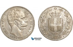 AF037, Italy, Umberto I, 5 Lire 1879-R, Rome, Silver, Lustrous AU