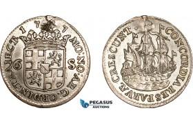 AF041, Netherlands, Utrecht, 6 Stuiver 1787, Silver, Planchet flaw, XF-AU