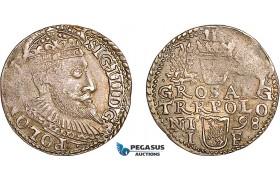 AF043, Poland, Sigismund III, 3 Groschen (Trojak) 1598 I/F, Olkusz, Silver (2.47g) Toned AU