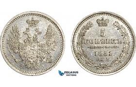 AF051, Russia, Nicholas I, 5 Kopeks 1851 СПБ-ПA, St. Petersburg, Silver, Cleaned UNC