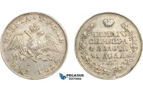 AF052, Russia, Nicholas I, Rouble 1829 СПБ-НГ, St. Petersburg, Silver, VF-XF