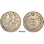 AF053, Russia, Nicholas I, Rouble 1843 MW, Warsaw, Silver, aXF