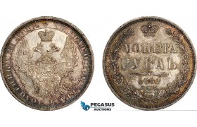 AF054, Russia, Nicholas I, Rouble 1852 СПБ-ПA, St. Petersburg, Silver, Toned UNC (Lightly scratched)