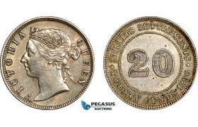 AF059, Straits Settlements, Victoria, 20 Cents 1896, Silver, Cleaned XF-AU
