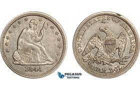 AF060, United States, Seated Liberty Quarter Dollar (25c) 1845, Philadelphia, Silver, AU (Rim filling)