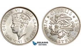 AF062, Cyprus, George VI, 9 Piastres 1938, London, Silver, Cleaned AU-UNC