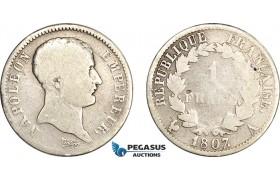 AF063, France, Napoleon, 1 Franc 1807-A, Paris, Silver, African Head, VG, Rare!