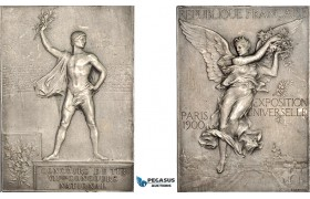 AF064, France, 1900 Paris Olympics, Silvered Bronze Participant Plaque Medal (60x43mm, 57.3g) By Vernon