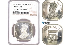 AF069, Australia, George V, 5  Shillings 1920 Dated, Silver, KM-X1, NGC PF67UC, Pop 1/0