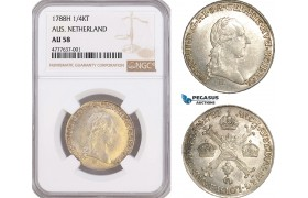 AF070, Austrian Netherlands, Joseph II, 1/4 Kronentaler 1788-H, Hall, Silver, NGC AU58