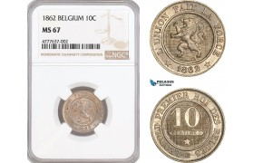 AF071, Belgium, Leopold II, 10 Centimes 1862, Brussels, NGC MS67, Top Pop!