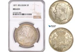 AF072, Belgium, Leopold II, 5 Francs 1871, Brussels, Silver, NGC MS63+