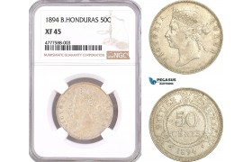AF073, British Honduras, Victoria, 50 Cents 1894, London, Silver, NGC XF45