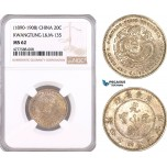 AF079, China, Kwangtung, 20 Cents ND (1890-1908) Silver, L&M 135, NGC MS62