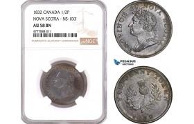 AF082, Canada, Nova Scotia, William IV, 1/2 Cent 1832, NS-1D3, NGC AU58BN