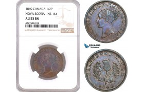AF083, Canada, Nova Scotia, Victoria, 1/2 Cent 1840, NS-1E4, NGC AU53BN