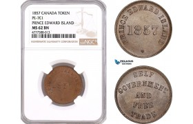 AF084, Canada, Prince Edward Island, 1857 Token, PE-7C1, NGC MS62BN, Top Pop!