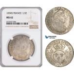 AF089, France, Louis XIV, 1/2 Ecu 1694-S, Reimes, Silver, NGC MS62, Pop 2/0