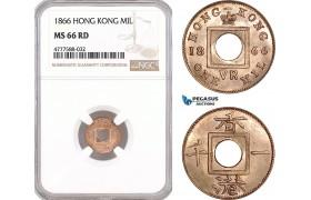 AF105, Hong Kong, Victoria, 1 Mil 1866, NGC MS66RD