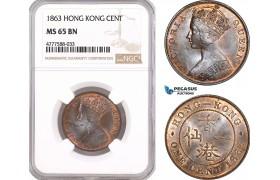 AF106, Hong Kong, Victoria, 1 Cent 1863, NGC MS65BN