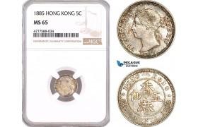 AF107, Hong Kong, Victoria, 5 Cents 1885, Silver, NGC MS65
