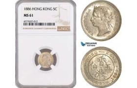 AF108, Hong Kong, Victoria, 5 Cents 1886, Silver, NGC MS61