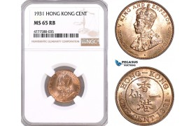 AF109, Hong Kong, George V, 1 Cent 1931, NGC MS65RB