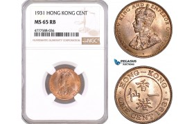 AF110, Hong Kong, George V, 1 Cent 1931, NGC MS65RB