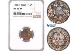 AF111, India, East India Company, 1/12 Anna 1835 (B) Bombay, NGC MS65BN