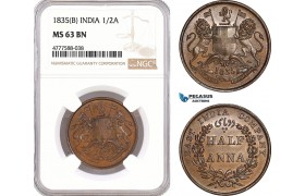 AF112, India, East India Company, 1/2 Anna 1835 (B) Bombay, NGC MS63BN