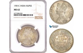 AF113, India (British) Victoria, 1 Rupee 1901 (C) Calcutta, Silver, NGC MS62