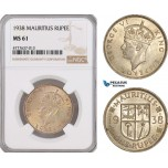 AF116, Mauritius, George VI, 1 Rupee 1938, Silver, NGC MS61